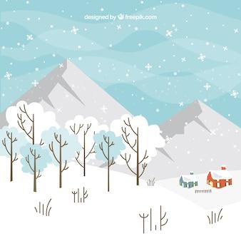 Wielkie góry zimą tło