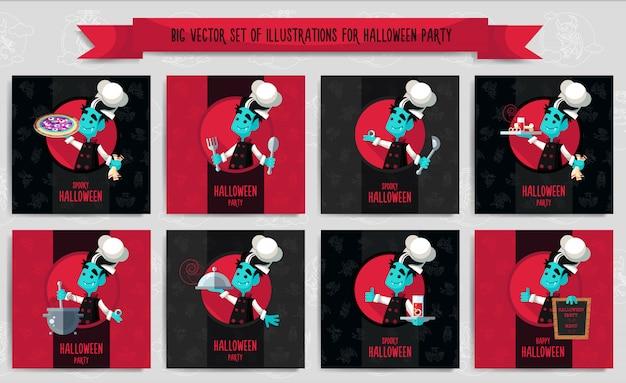 Wielkie halloween zestaw ilustracji wektorowych