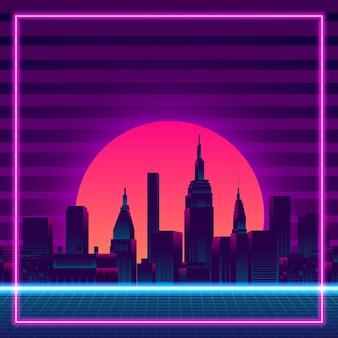 Wielkie miasto miejski wieżowiec sylwetka budynek zachód słońca neon niebieski różowy fioletowy kolor retro styl vintage z lat 80. z gradientowym tłem