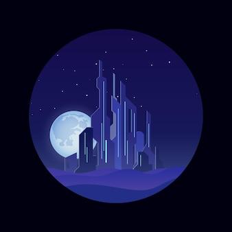 Wielkie miasto noc skyline retro futurystyczny styl ilustracji wektorowych