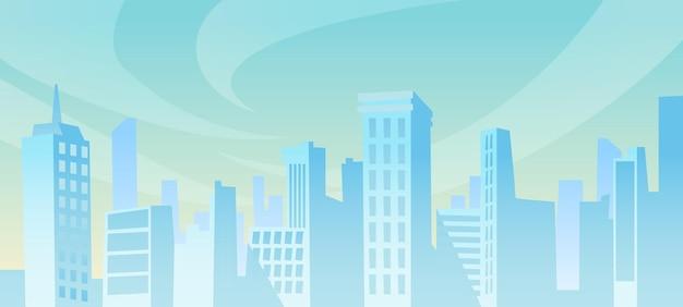 Wielkie miasto panorama na odległość w ciągu dnia pejzaż tło wektor drapacze chmur i domy jednorodzinne
