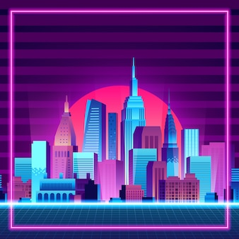 Wielkie miasto wieżowiec sylwetka miejski budynek o zachodzie słońca neon
