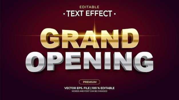 Wielkie otwarcie edytowalne efekty tekstowe