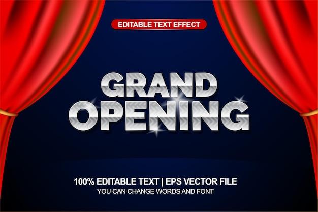 Wielkie otwarcie edytowalny efekt tekstowy z elementem tła czerwonej kurtyny