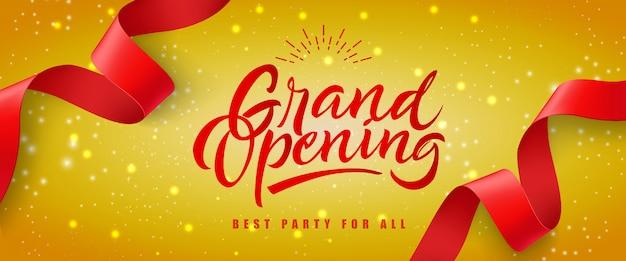 Wielkie otwarcie, najlepsza impreza dla wszystkich świątecznych banerów z czerwonym streamerem