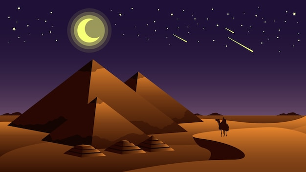 Wielkie piramidy w gizie z księżycem