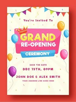 Wielkie ponowne otwarcie ceremonii ulotki lub projektu szablonu ozdobione balonami i koroną ilustracji