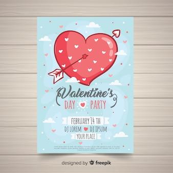 Wielkie serce valentine party plakat