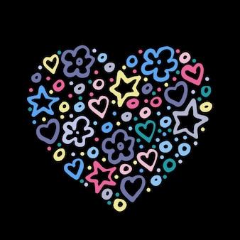 Wielkie serce z małych serc, walentynki - ilustracja kocham cię. romantyczna i urocza ręcznie rysowane kartka z życzeniami