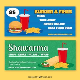 Wielkie transparenty z różnymi rodzajami fast food