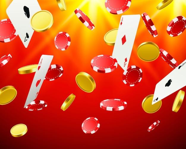 Wielkie zwycięstwo. wygrywanie w kasynie. latające żetony, karty do gry i monety na czerwonym tle. ilustracja wektorowa