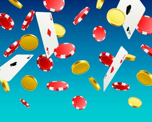 Wielkie zwycięstwo. wygrywanie w kasynie. latające żetony, karty do gry i monety na niebieskim tle. ilustracja wektorowa