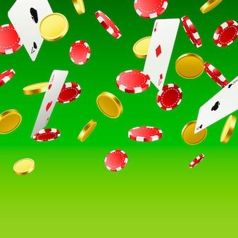 Wielkie zwycięstwo. wygrywanie w kasynie. latające żetony, karty do gry i monety na zielonym tle. ilustracja wektorowa