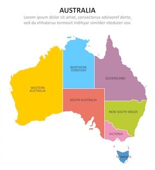 Wielobarwna mapa australii z regionami.