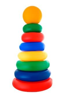 Wielobarwna piramida z zabawkami dla dzieci