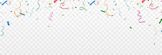 Wielobarwne konfetti spadają z nieba konfetti serpentynowe świecidełko na przezroczystym tle