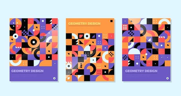 Wielobarwne, zatłoczone kształty geometryczne okładki biznesowe