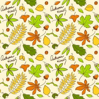 Wielobarwny jesień bezszwowe tło wzór z orzechami i liśćmi z różnych drzew