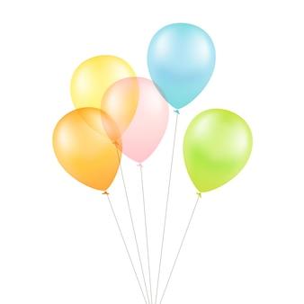 Wielobarwny kolorowe balony na białym tle