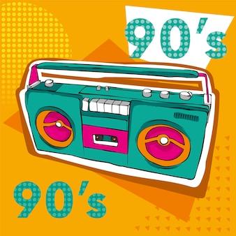 Wielobarwny magnetofon retro