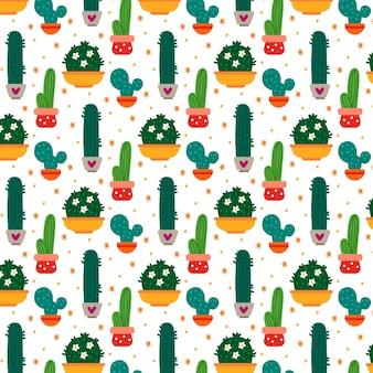 Wielobarwny wzór roślin kaktusa