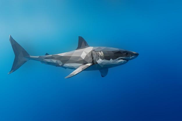 Wieloboczne geometryczne tło rekin zwierząt