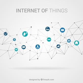 Wieloboczne tło z elementami podłączonymi do internetu