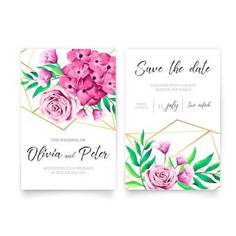 Wieloboczne zaproszenie na ślub z kwiatami akwarela