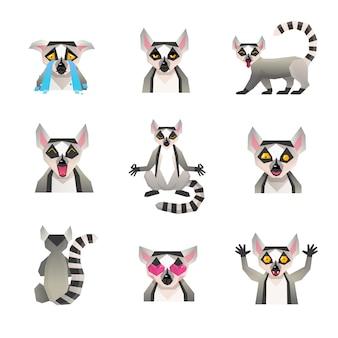 Wieloboczny zestaw ikon lemur