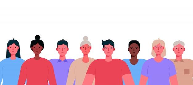 Wieloetniczna grupa ludzi na białym tle.