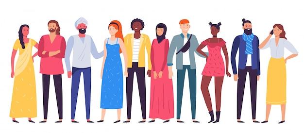 Wieloetniczna grupa ludzi. pracownicy zespalają się, różnorodni ludzie stoi wpólnie i współpracownicy w przypadkowej strój ilustraci