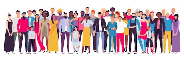 Wieloetniczna grupa ludzi. społeczeństwo, portret społeczności wielokulturowej i obywatele. ilustracja młodych, dorosłych i osób starszych