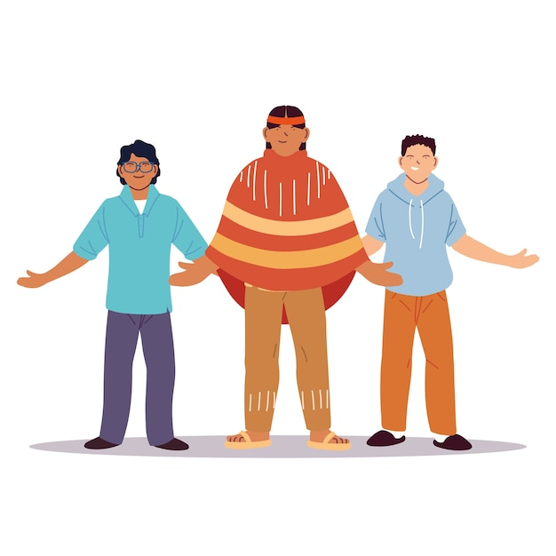 Wieloetniczna grupa ludzi stojących razem, różnorodność czy wielokulturowość.
