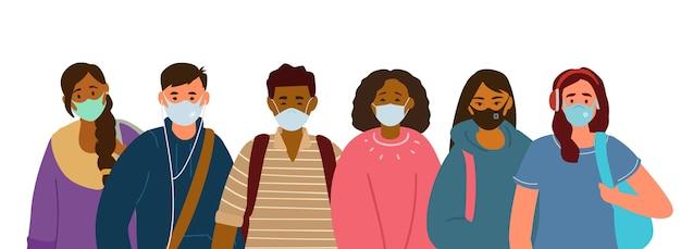Wieloetniczna grupa studentów, nastolatków noszących ochronne maski na twarz w celu ochrony przed wirusami, grypą.