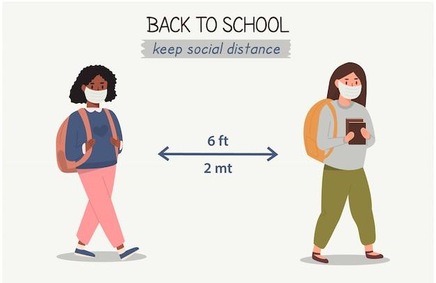 Wieloetniczne, wielorasowe dzieci, które noszą i chronią się za pomocą masek medycznych i szanują dystans społeczny. pojęcie dystansu społecznego między uczennicami. powrót do szkoły po pandemii.