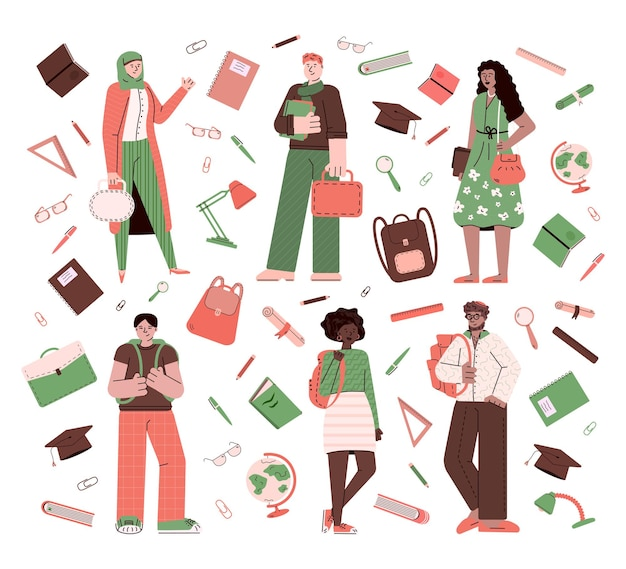 Wieloetniczni studenci i mieszkanie biurowe