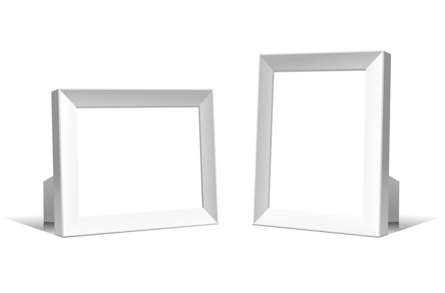 Wielofunkcyjne puste białe ramki. realistyczna ilustracja na białym tle.