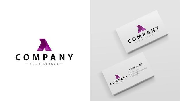 Wielokąt logo litery y. szablon wizytówek z logo