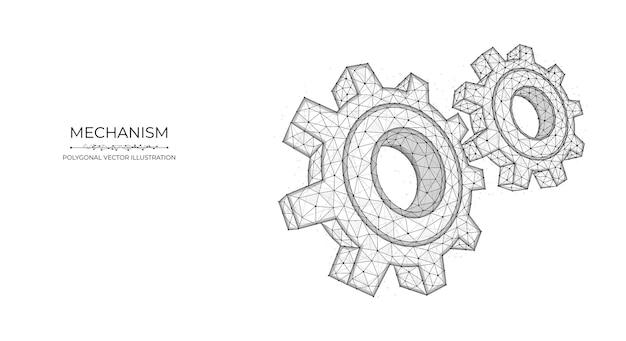 Wielokątna ilustracja wektorowa mechanizmu koła zębate lub ustawienia low poly art