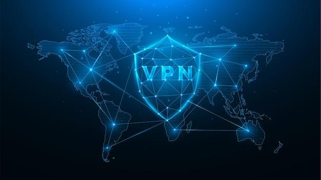 Wielokątna ilustracja wektorowa wirtualnej sieci prywatnej, tarcza z mapą vpn i świata, koncepcja ochrony danych użytkownika na całym świecie.