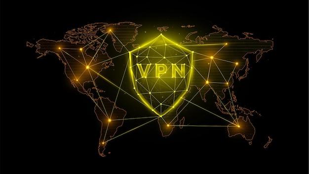 Wielokątna ilustracja wektorowa wirtualnej sieci prywatnej, tarcza z vpn i mapa świata.