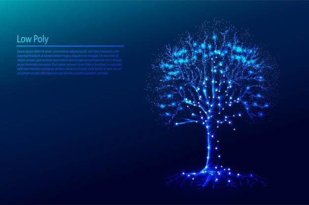 Wielokątne drzewo na ciemnoniebieskich trójkątach tła tech i projekt w stylu cząstek
