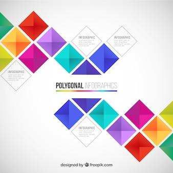 Wielokątne infografika w kolorowym stylu
