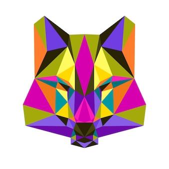Wielokątny trójkąt geometryczny portret wilka na białym tle