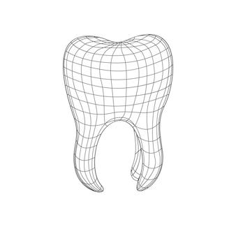 Wielokątny ząb d na białym tle