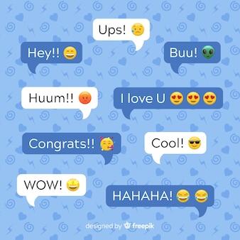 Wielokolorowe dymki płaska konstrukcja z emoji wzdłuż wyrażeń