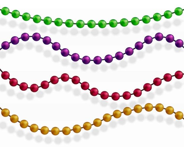 Wielokolorowe koraliki. piękny łańcuch w różnych kolorach.