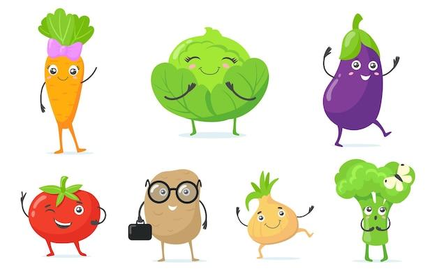 Wielokolorowe słodkie maskotki warzywne płaski zestaw ikon
