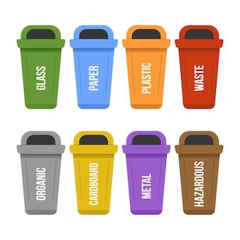 Wielokolorowe stojące kosze na śmieci do recyklingu do oddzielnego zbierania śmieci. pojemniki na śmieci w różnych kolorach na odpady - plastikowe, kartonowe, organiczne, papier, szkło, metal. płaska ilustracja