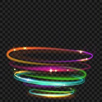 Wielokolorowe świecące pierścienie ognia z brokatem. efekty świetlne